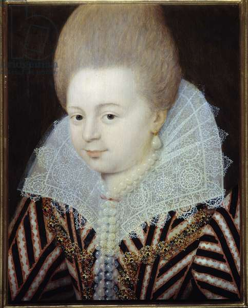 """Portrait of unknown lady formerly known as Diane d'andouin, Countess of Gramont, la belle Corisande"""""""" (1554-1620)"""""""" Painting attributed to Etienne Dumonstier (1574-1603) 1600 approx. Sun. 0,32x0,22 m. Versailles, Castles of Versailles and Trianon"""