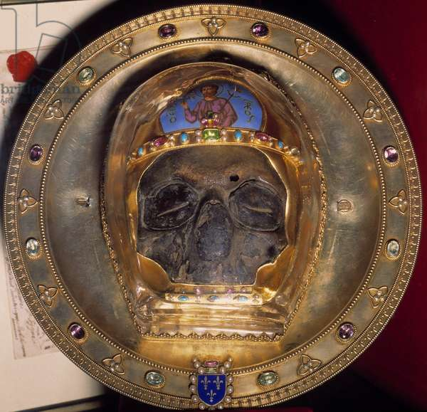 Relic: skull of St. John the Baptist brought back in 1206 from the Fourth Crusade to Constantinople, treasor of the sacristy of the Cathedrale of Amiens.