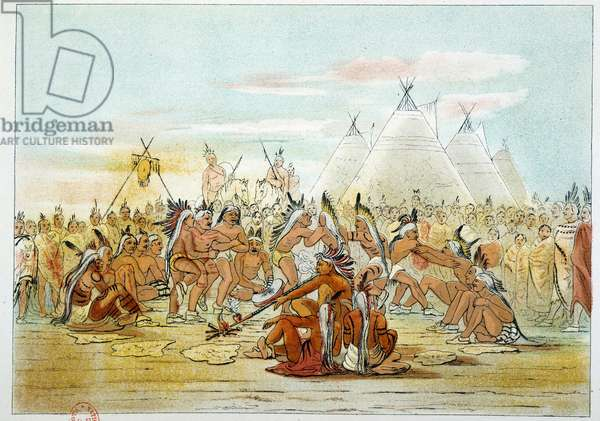 Indians of America: Assiniboin tribe resembling Sioux dancing pipe dance. Illustration by George Catlin (1794-1872), 19th century. Paris, B N
