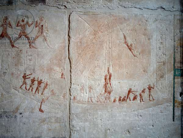 Egyptian antiquite: navigation scene. Limestone relief from the Chapel of Mastaba of Akhethetep in Saqqara. 5th dynasty (around 2500-2350 BC) 2300 BC. Paris, Louvre Museum