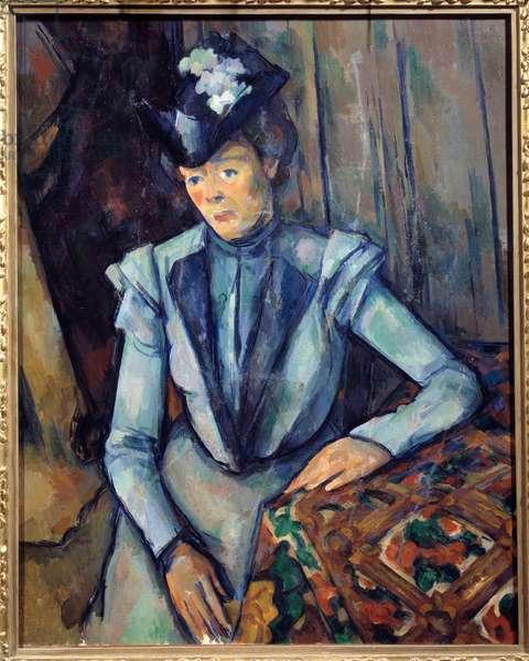 Woman in Blue. Painting by Paul Cezanne (1839 - 1906), 1902. St. Petersburg, Hermitage