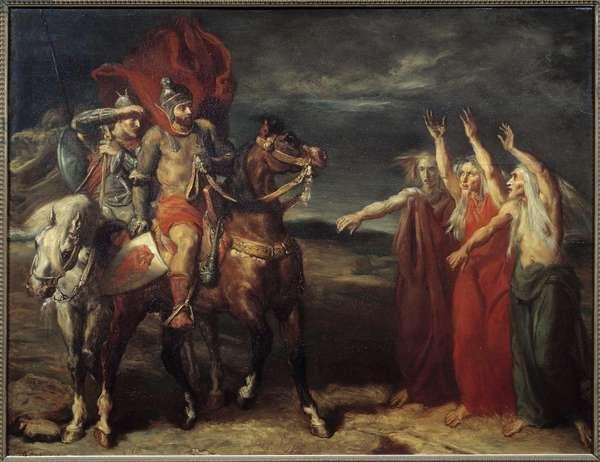 """Macbeth and the Three Witches Illustration of Scene 3 of Act I of William Shakespeare's play """""""" MacBeth"""". Painting by Theodore Chasseriau (1819-1856) 1855 Sun. 0,72x0,9 m Paris, musee d'Orsay"""