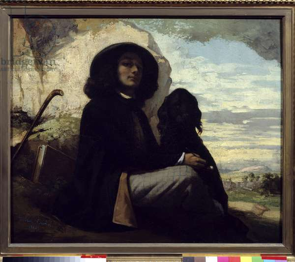 Self-portrait with his dog by Gustave Courbet (1819-1877) 1842