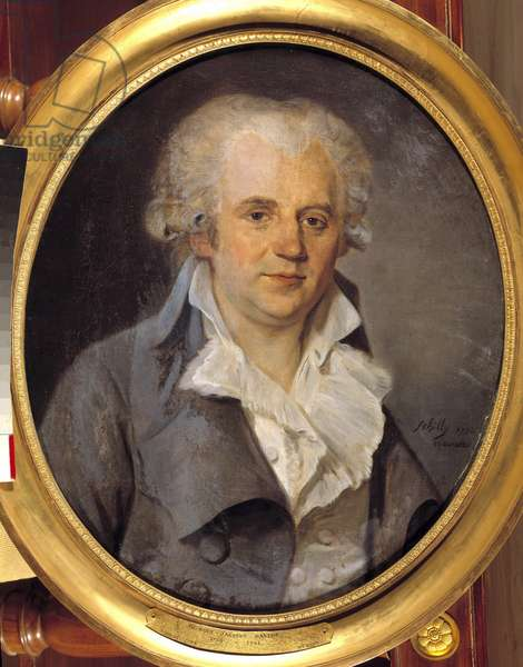 Portrait of Georges Jacques Danton, conventional lawyer (1759-1794) August 12, 1793 Painting by Schilly (18th century). 1793 Sun. 0,65x0,54 m. Versailles, Chateau Museum