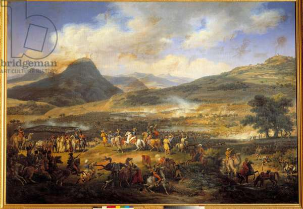 """Campaign (Expedition) of Egypt (1798-1801): """""""" Battle of Mount Thabor, April 16, 1799"""""""" The Battle of Mount Thabor opposed the French army of Napoleon Bonaparte, who won it, to the Turkish army"""""""""""" Painting by Louis Francois Lejeune (1775-1848) Sun. 1,8x2,6 m"""