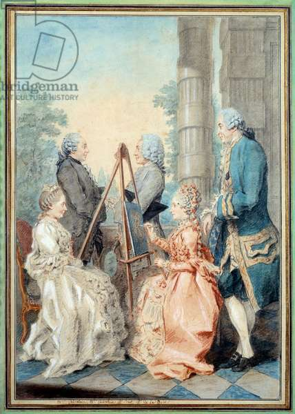 Madam and Miss Chatelain, Mr Brot and Mr de la Myre. Watercolour by Louis Carrogis Carmontelle (1717-1806), 18th century. Paris, Musee Carnavalet