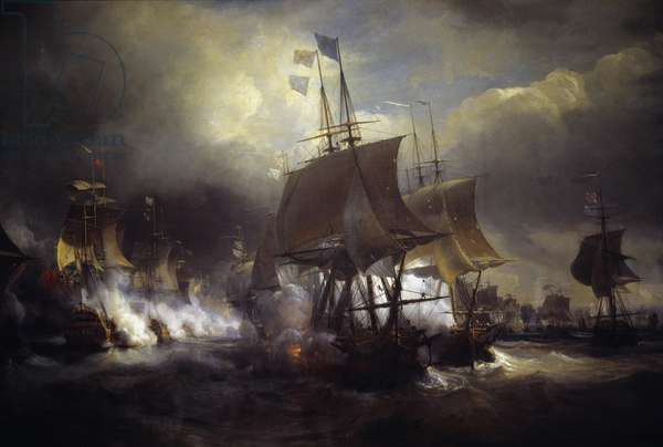 """American War of Independence: """""""" Battle naval d'Ouessant between 23 and 27/07/1778"""""""" She opposed the French fleet to that of the English. Detail. Painting by Theodore Gudin (1802-1880) 19th century Paris. Marine Museum"""
