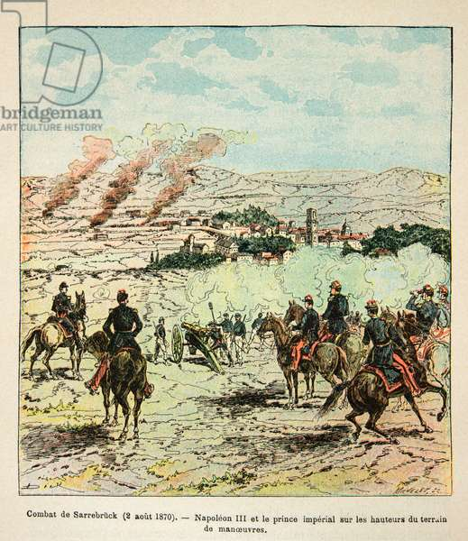 French and Germans, anecdotal history of the War of 1870-1871, 1888, illustration by Georges Hardouin (1846-1893) also says Dick de Lonlay: Emperor Napoleon III and Prince Imperial on the heights during the fighting of Saarbrücken on August 2, 1870 - private collection
