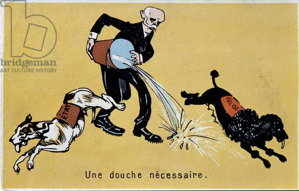 Cartoon vignette on the separation of the Church and the State: Georges Clemenceau is a representative throwing a water jump to two dogs symbolizing the Church and the State. 1905 around Paris, decorative arts
