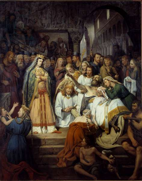 """A feature of Fredegonde's life also says """"The death of Saint Pretextat, eveque de Rouen"""". Fredegonde (545-597), wife of Chilperic I watches Pretextat de Rouen whom she had murdered in the cathedrale of Rouen in 586. Painting by Edouard Cibot (1799-1877) 1832 Rouen, Musee des Beaux Arts"""