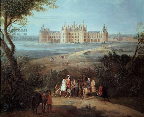 View of the Chateau de Chambord, the Regent Philippe II Duke of Orleans (1674-1723) gives orders for hunting Painting by Pierre Denis Martin (1663-1742) 1722 Sun. 1,3x1,5 m  - View of the Chateau de Chambord, the Regent Philippe II Duke of Orleans (1674-1723) gives his orders for hunting. Painting by Pierre Denis Martin (1663-1742), 1722. 1.3 x 1.5 m. Versailles, Castles of Versailles and Trianon