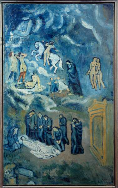 Evocation of the funeral of Casagemas. Painting by Pablo Picasso (1881-1973), 1901. Oil on canvas. Dim: 1,50 x 0,90m. Paris, National Museum of Modern Art