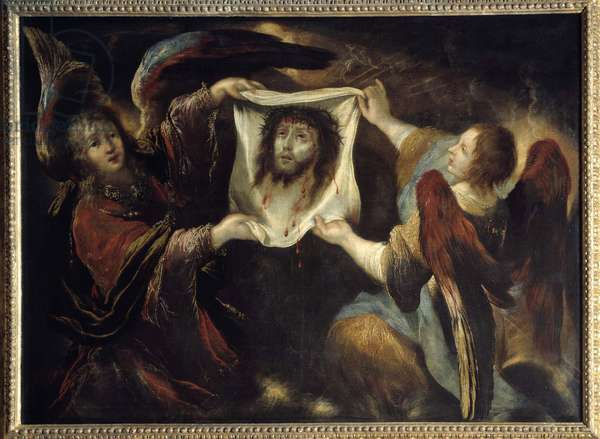 Two angels presenting the holy face Head of Christ from the face, crowned with thorns and aureolee, on the linen of Saint Veronica who wiped the face of Jesus (Holy Shroud). Painting by Claude Vignon (1593-1670) 1640 Sun. 1,24x1,7 m Rouen, musee des Beaux Arts