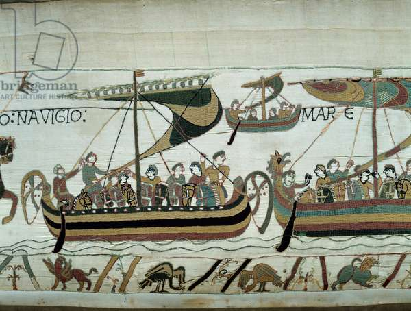Conquete of England by William the Conquerant (1027-1087) in 1066: the Norman fleets are heading to England Detail of Bayeux Tapestry or Embroidery of Queen Mathilde, 1077 (70,34x050 m). Library of Bayeux. Bayeux, Calvados