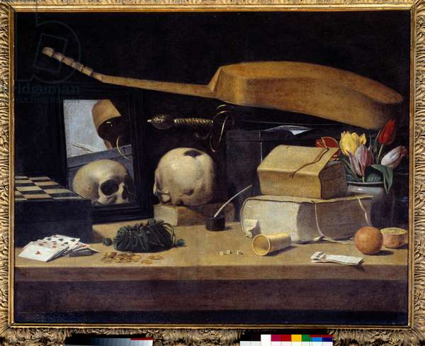 Vanitas Still Life (Vanite) with deck of cards, instrument and skull. Painting of the French School. 17th century. Sun 0,72x0,9 m