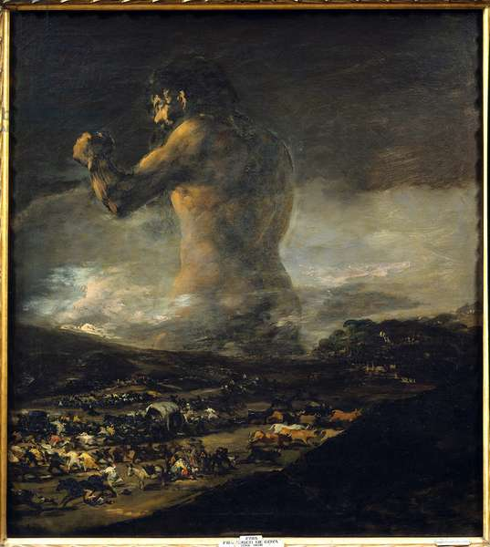 The Colossus Silhouette of a giant walking through the plains of a very dark landscape and sowing fear, death, misery and flight of the Spanish people. It is a symbol of Spain's war of independence against Napoleon I Bonaparte. Painting long attributed Francisco de Goya (1746-1828) but signed A. J. Asensio Julia (1760-1832), 1808-1812 Sun. 1,16 X 1,05 m Madrid. Musee Du Prado - The Colossus (also called Coloso or the Giant). Silhouette of a giant walking through a dark landscape causing fear, death and misery as people flee in panic. it's seen as a symbol of the Spanish resistance during the independence war against Napoleon I Bonaparte. Painting previously attributed to Francisco de Goya (1746-1828) but signed A.J. Asensio Julia (1760-1832), one of Goya's assistants. 1808-1812. Oil on canvas, 1.16 x 1.05 m. Prado Museum, Madrid, Spain