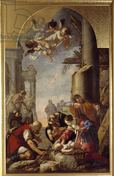 L'Adoration des Shepherds Painting by Laurent de la Hyre (Laurent de la Hire, 1606-1656) 1635 Sun. 4,5x2,8 m Rouen, musee des Beaux Arts