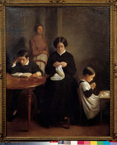 The artist's family Le jeune brother studied, while the mother and sister did sewing work. Painting by Leon Bonnat (1833-1922) 1853 Bayonne, Musee Bonnat.