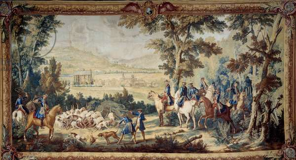 Hunting of Louis XV. Tapestry by Jean Baptiste Oudry (1686 - 1755), 1744. Compiegne, Musee National Du Chateau.