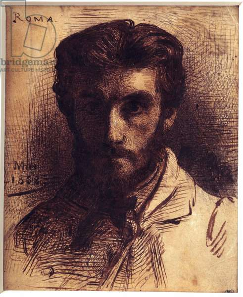 Self-Portrait Drawing with pen, wash and ink of china by Leon Joseph Bonnat (1833-1922). May 1858. Dim. 0,18 x 0,14 m. Paris, Musee d'Orsay