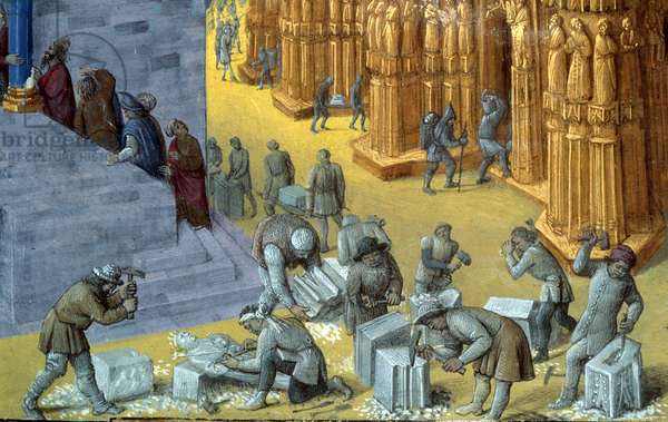 """The construction of the Jerusalem temple by King Solomon Detail representing the stone cutters. Miniature from the manuscript """"The Judaic Antiquities"""""""" by Josephus Flavius (Giuseppe Flavio, Flavius Josephe) (37-100) illustrated by Jean Fouquet (1425-1481) around 1470-1476. man. fr 247, fol. 163 v. B.N, Paris"""