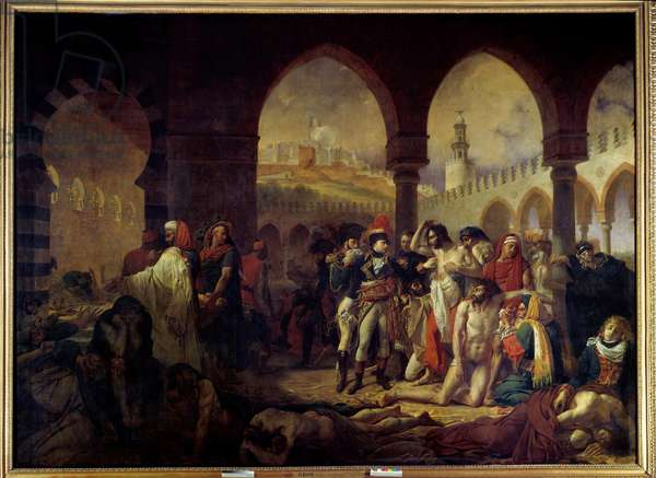 """Campaign (Expedition) of Egypt (1798-1801): """""""" Napoleon Bonaparte (1769-1821) Visiting the Pestiferes of Jaffa on 11/03/1799"""""""" Painting by Antoine Jean Gros (1771-1835) 1804 Sun. 5,23x7,15 m  - Campaign of Egypt (1798-1801): Napoleon Bonaparte (1798-1801) 69-1821) visiting the beach-stricken in Jaffa, 11 March 1799. Painting by Antoine Jean Gros (1771-1835), 1804. 5.23 x 7.15 m. Louvre Museum, Paris"""