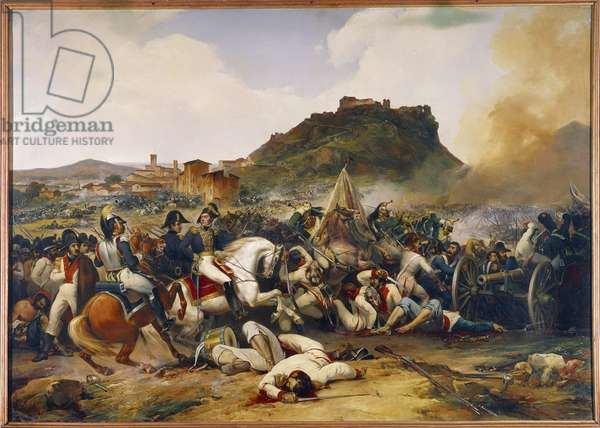 """Campaign of Spain and Portugal (1808-1813): """""""" The Battle of Castalla near Alicante on 21/07/1812: victory of General Delort over the troops of English General O'Donnell"""""""" Painting by Jean Charles Langlois (1789-1870) 1838 Sun. 1,84 x 2,56 m."""