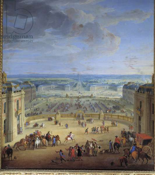 Les Ecuries seen from the castle of Versailles, taken from the marble courtyard, Francoise d'Aubigne, Marquise (Madame) de Maintenon (1635-1719), favorite of Louis XIV, apprets to ride by carriage to Saint-Cyr Painting by Jean-Baptiste Martin (the Elder) (1659-1735). Dim. 2,6x1,8 m.  - The Stables of the castle of Versailles, seen from the marble courtyard. Francoise d'Aubigne, Marquise (Madame) de Maintenon (1635-1719), mistress of Louis XIV, about to get on a carriage for Saint- Cyr. Painting by Jean- Baptiste Martin (the Elder) (1659-1735). 2.6 x 1.8 m.