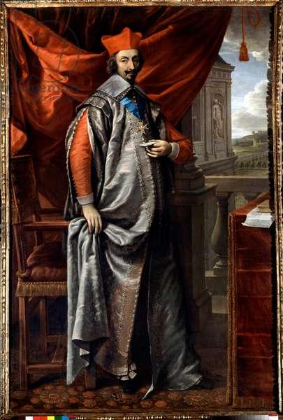 Portrait en pied de Armand Jean Du Plessis, cardinal de Richelieu (1585 - 1642) painting by Philippe De Champaigne (1602-1674) Paris. Ministry of Foreign Affairs