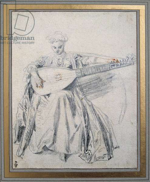 A lute player Drawing a lead mine and blood by Jean Antoine Watteau (1684-1721) 18th century Chantilly musee Conde