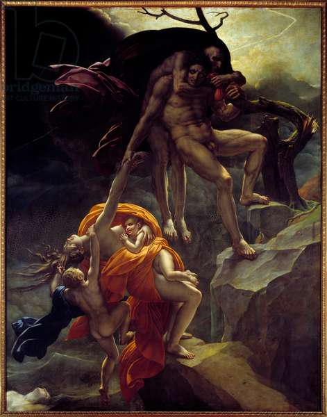 Deluge scene. Painting by Anne Louis Girodet de Roucy-Trioson (Anne-Louis Girodet de Roucy Trioson, 1767-1824), 19th century. Oil on canvas. Dim 4,41 x 3,41m. Paris, Musee Du Louvre