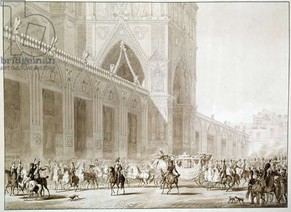 """The arrival in carriage of Emperor Napoleon I (1769-1821) and Impress Josephine de Beauharnais (1763-1814) at the Cathedrale Notre Dame de Paris on the Day of the Sacred Print after """"The Book of the Sacred"""" by Jean Baptiste Isabey (1767-1855) 19th century Sun. 0.37 x 0.51 m Malmaison, musee du chateau"""