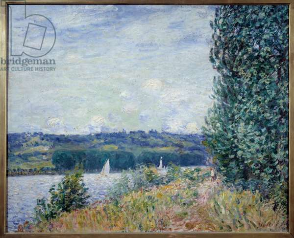 The Seine has the Bouille, gale. Painting by Alfred Sisley (1839 - 1899), 1894. Oil on canvas. Dim: 0,80 X 1,00m. Rouen, Museum of Fine Arts