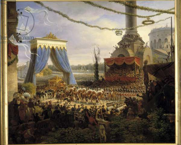 Entre de Charles X à Paris after the coronation on 6/06/1825. The royal carriage welcomed at the Barriere de la Villette by the municipal body of Paris having at its head the prefet of the department of the Seine, the Count of Chabrol Painting by Louis Francois Lejeune (1775-1848) 1825 Dim. 1,5x1,7 m  - Entry of Charles X into Paris after his coronation on 6 June 1825. The royal coach is welcomed at the Barriere de la Villette by the members of the Council of Paris leading by the Prerfect of the Seine, the Comte de Chabrol. Painting by Louis Francois Lejeune (1775-1848), 1825. 1.5 x 1.7 m.