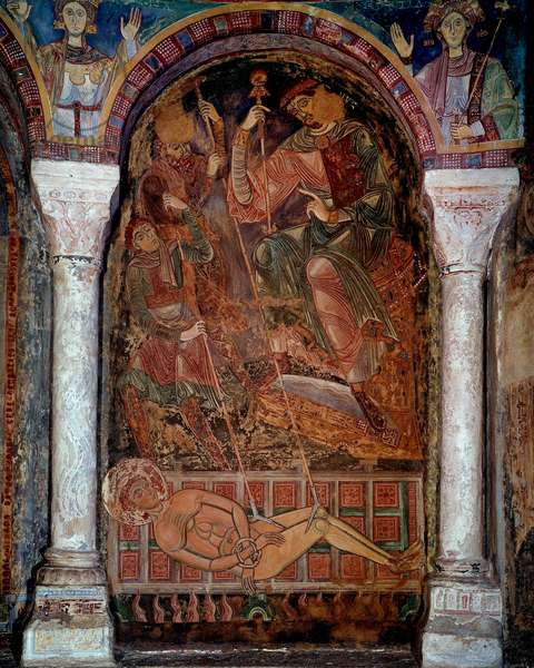 The martyrdom of Saint Laurent (210/220-258) died on the grill, fresco of Berze the city. 11th century. Chapel of the Moines, Berze la Ville