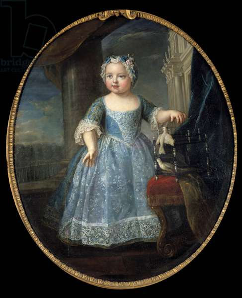 Portrait of Louise Marie of France (1728-1733) dit Madame, third daughter of Louis XV Painting by Pierre Gobert (1662-1744) 18th century Sun. 1,08 x 0,88 m.