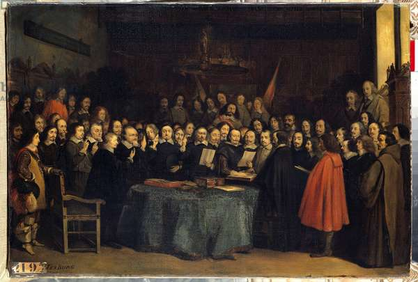 The peace of Westphalia, the swearing-in after the ratification of peace between the Spaniards and the Needlanders, at the Munster City Hall on 15/05/1648 They ended the Thirty Years' War. Painting by Claudius Jacquand (1804-1878) 1847 Sun. 0,44x0,57 m