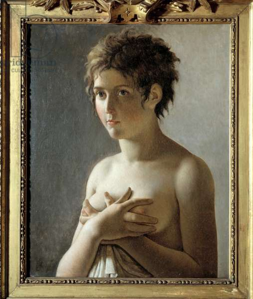 Portrait of a girl in bust - Painting by Pierre Narcisse (Pierre-Narcisse) Guerin (1774-1833), 19th century - Oil on canvas - Sun: 0,60 x 0,50m -