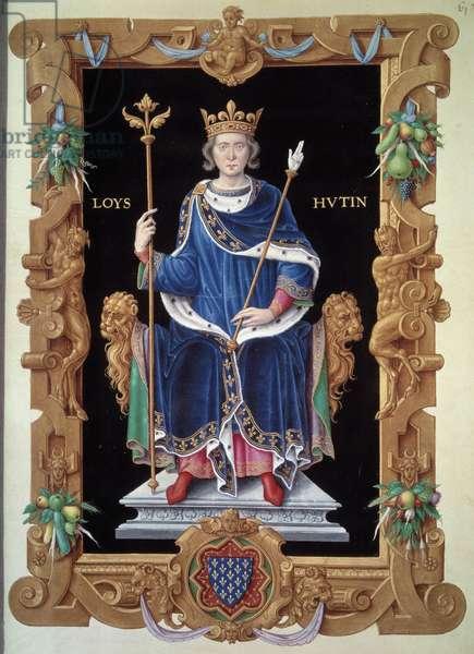 """Portrait en pied de Louis X le Hutin (1289-1316) Miniature by Jean du Tillet (1484-1520) from """""""" Recueil des rois de France"""""""" 16th century Paris, B.N."""