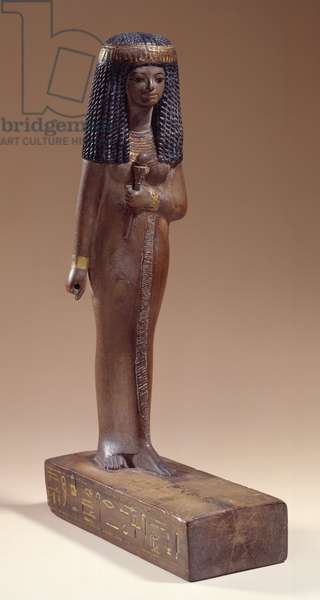 """Egyptian antiquite: """""""" nay lady"""""""" Wooden statuette. 18th dynasty. 1400 BC. Sun 0,31 m Paris, Musee du Louvre"""