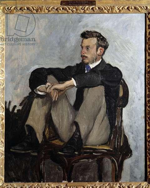 Portrait of the painter Pierre Auguste Renoir (1841-1919) Painting by Jean Frederic Bazille (1841-1870) 1867. Dim. 0,62 x 0,51 m Paris, musee d'Orsay - Portrait of the painter Pierre Auguste Renoir (1841-1919). Painting by Jean Frederic Bazille (1841-1870), 1867. 0.62 x 0.51 m. Orsay Museum, Paris
