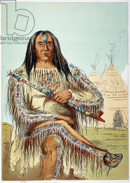 American Indians: Portrait of a leader of the blackfoot tribe (black feet) age about 50. Illustration by George Catlin (1794-1872), 19th century. Paris, B N