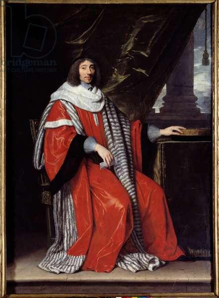Portrait en pied de Jean Antoine de Mesme (1598-1673) President of the Parlement of Paris Painting by Philippe de Champaigne (1602-1674) (ec.flam.) 1653 Sun. 2,23x1,62 m  - Full-length portrait of Jean Antoine de Mesme (1598-1673) President of the Parliament of Paris. Painting by Philippe de Champaigne (1602-1674) (Flemish School), 1653. 2.23 x 1.62 m. Louvre Museum, Paris