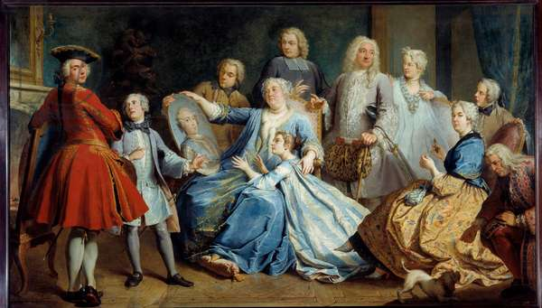 Portrait of Madame Mercier, nurse of Louis XV, surrounded by her family. Painting by Jacques Dumont, dit le Romain (1701-1781), 1731. Oil on canvas. Dim: 2,25 X 3,80m.