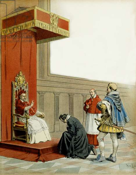 """History of France: Presentation of Abbe Armand de Cardinal de Richelieu (Armand Jean du Plessis, 1585-1642) to Pope Paul V (Camille Borghese or Camillo Borghese, 1550-1621). Illustration by Maurice Leloir (1853-1940) in """""""" Richelieu"""""""", 1901. Private Collection"""