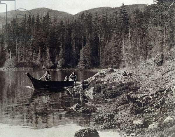 American Indians canoeing on the shore of the nootka