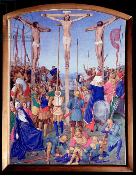 """Crucifixion. Miniature taken from """""""" The Book of Hours of Etienne Chevalier"""""""" by Jean Fouquet (1420-1477/1481), 15th century. Chantilly, Conde Museum"""