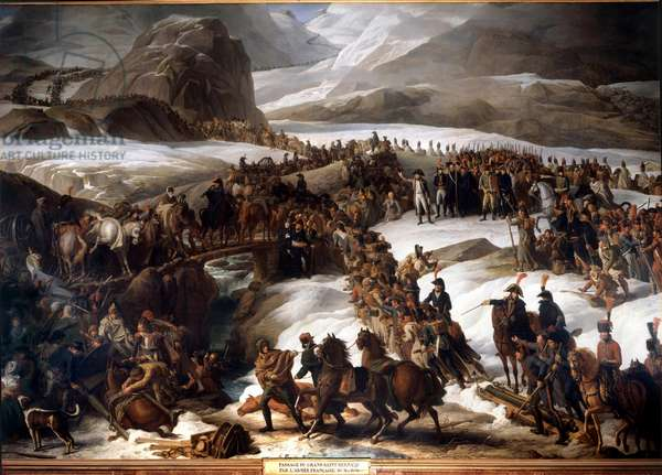 Passage of the Great Saint Bernard (Great Saint Bernard) by the French army on May 20, 1800 - Painting by Charles Thevenin (1764-1838), 1806 - Oil on canvas - Sun: 4,67 x 7,95m -
