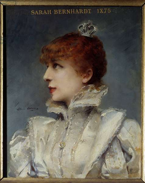 Portrait of Henriette Rosine Bernard dit Sarah Bernhardt (1844-1923) societary of the Comedie Francaise. Painting by Louise Abbema (1858-1927), 1875. Oil on wood. Dim: 0,28 x 0,23m. Paris, Musee Carnavalet - Portrait of Henriette Rosine Bernard known as Sarah Bernhardt (1844-1923), French stage and shareholding member of the Comedie Francaise. Painting by Louise Abbema (1858-1927), 1875. Oil on wood. 0.28 x 0.23 m. Carnavalet Museum, Paris