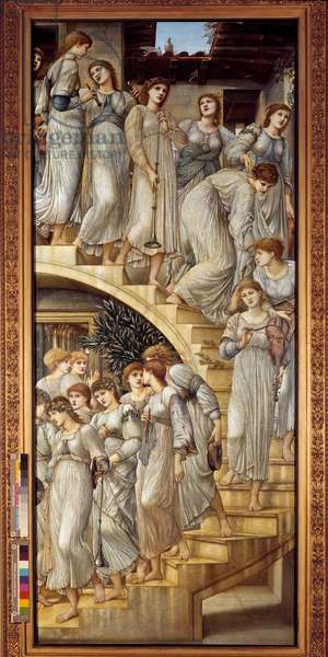 The golden stairs Painting by Edward Burne-Jones (Burne Jones) (1833-1898), 1880. London, Tate gallery - The golden stairs. Painting by Edward Burne-Jones (Burne Jones) (1833-1898), 1880. Tate gallery, London